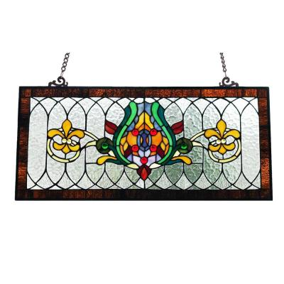 Fleur De Lis Stained Glass Pub Window Panel