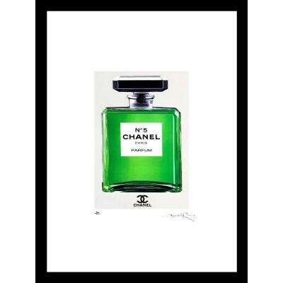 "30 in. x 24 in. ""Green Chanel No. 5"" by Fairchild Paris Framed Print Ad Wall Art"