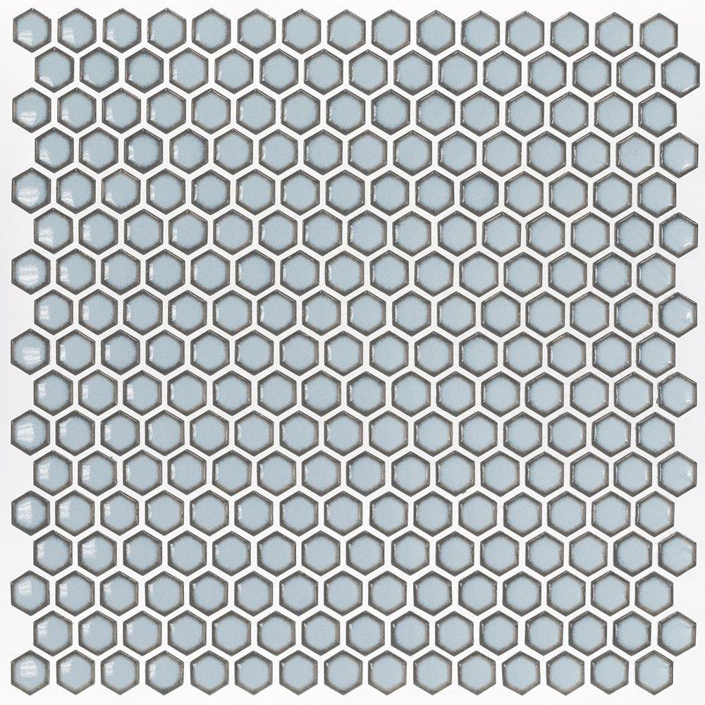 Bliss Edged Hexagon Polished Gray Ceramic Mosaic Floor and Wall Tile