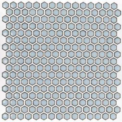 Bliss Edged Hexagon Polished Gray Ceramic Mosaic Floor and Wall Tile - 3 in. x 6 in. Tile Sample