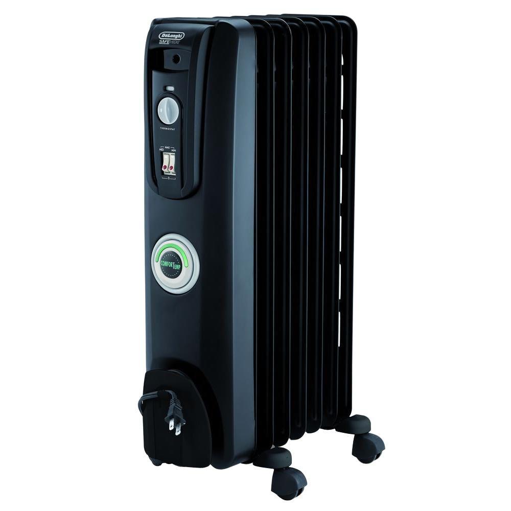 delonghi portable oil filled 7 fin radiator black. Black Bedroom Furniture Sets. Home Design Ideas