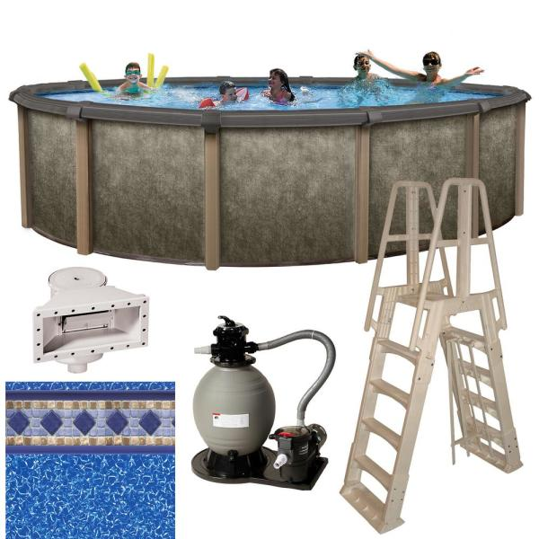 Riviera 18 ft. Round x 54 in. Deep Metal Wall Above Ground Pool Package with 8 in. Top Rail