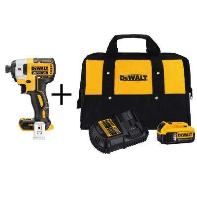 20-Volt MAX XR Lithium-Ion Cordless Brushless 3-Speed 1/4 in. Impact Driver (Tool-Only) w/ Bonus Battery 5Ah Starter Kit