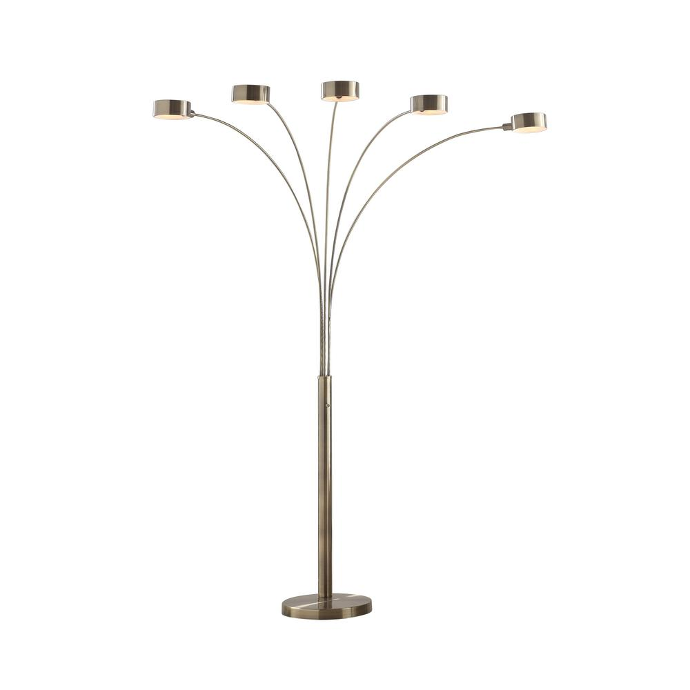 Artiva Micah 88 In Antique Satin Brass Led 5 Arc Floor Lamp With Dimmer Led207901ab The Home