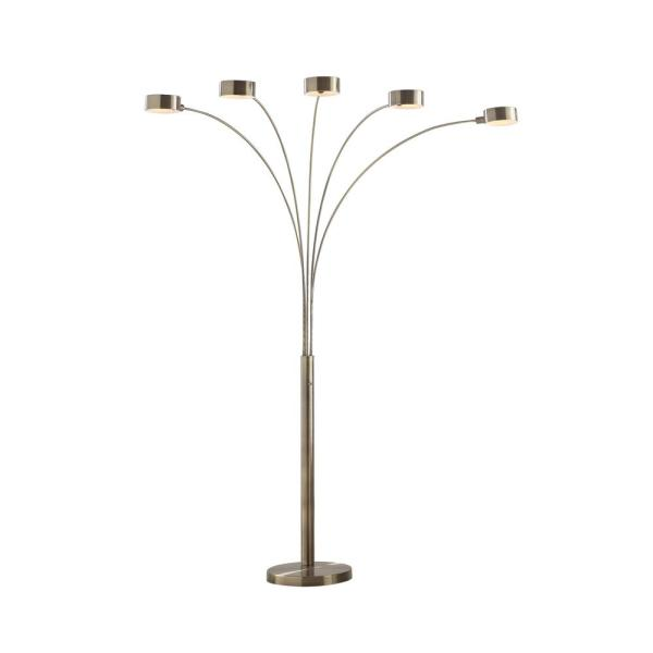 Micah 88 in. Antique Satin Brass LED 5-Arc Floor Lamp with Dimmer
