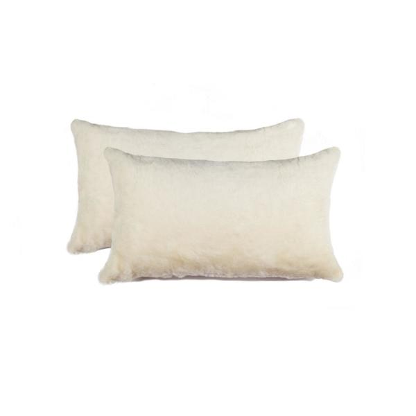 Nelson Sheepskin Chocolate Solid 12 in. x 20 in. Throw Pillow (Set of 2)