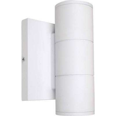 2-Light White Outdoor Integrated LED Wall Mount Sconce