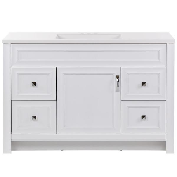 Candlesby 48 in. W x 19 in. D Bath Vanity in White with Cultured Marble Vanity Top in White with White Sink