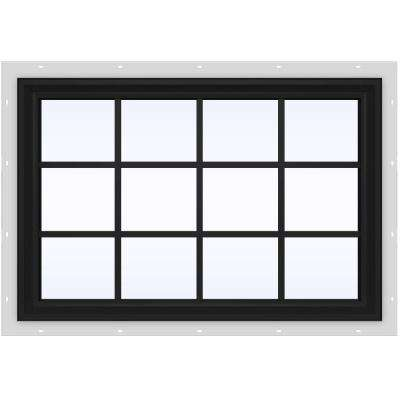48 in. x 36 in. V-2500 Series Bronze FiniShield Vinyl Fixed Picture Window with Colonial Grids/Grilles