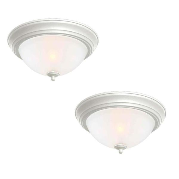 Commercial Electric 13 In 2 Light White Flush Mount With Frosted Glass Shade 2 Pack Efg8012a Wh The Home Depot