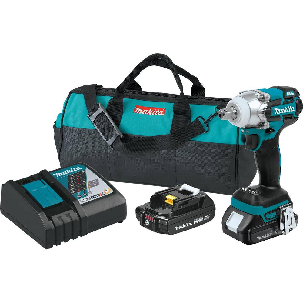 Makita 18-Volt LXT Lithium-Ion Compact Brushless Cordless 1/2 in. 3-Speed Impact Wrench Kit, 2.0Ah