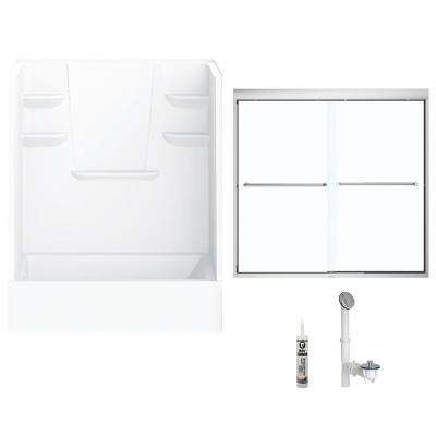 60 in. x 30 in. x 76 in. Bath and Shower Kit with Left-Hand Drain and Door in White and Chrome Hardware