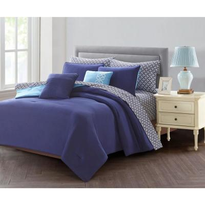 9-Piece Blue King Bed in a Bag Set