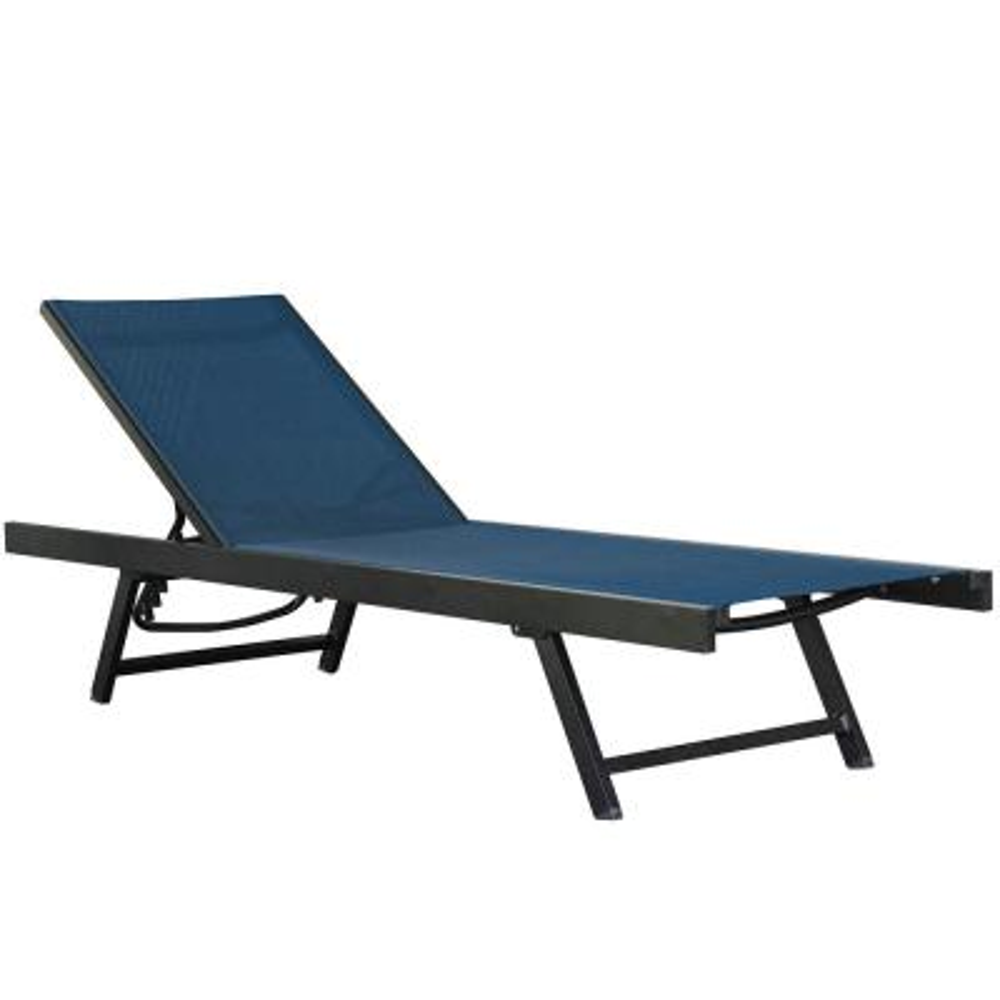 Urban Grey Aluminum Adjustable Sling Outdoor Patio Sun Lounge Chair in Navy
