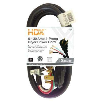 6 ft. 30 Amp 4-Prong Dryer Power Cord