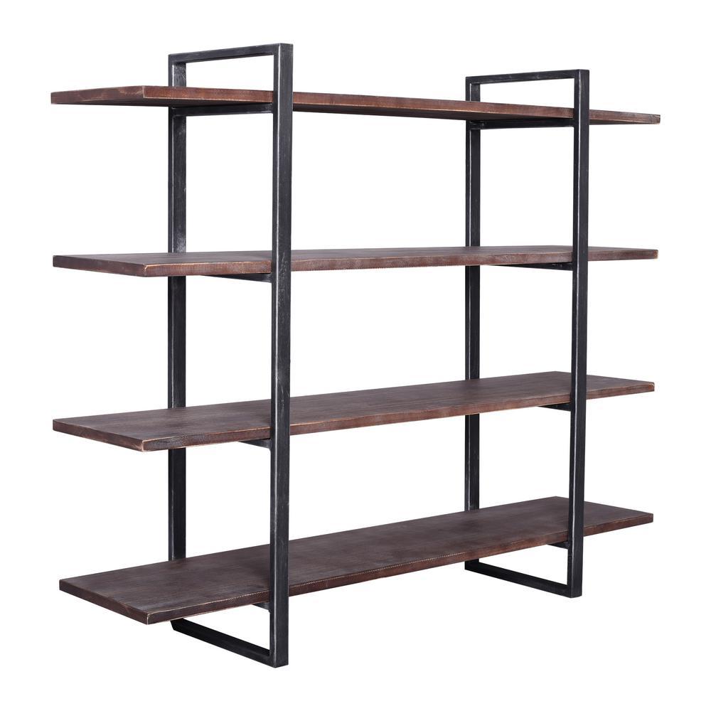 39.37 in. Rustic Pine/Black Metal 4-shelf Standard Bookcase with Open Back