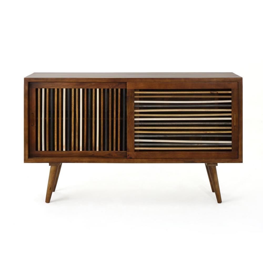 Noble House Laken Cane Mango Wood Sideboard Cabinet With Multi