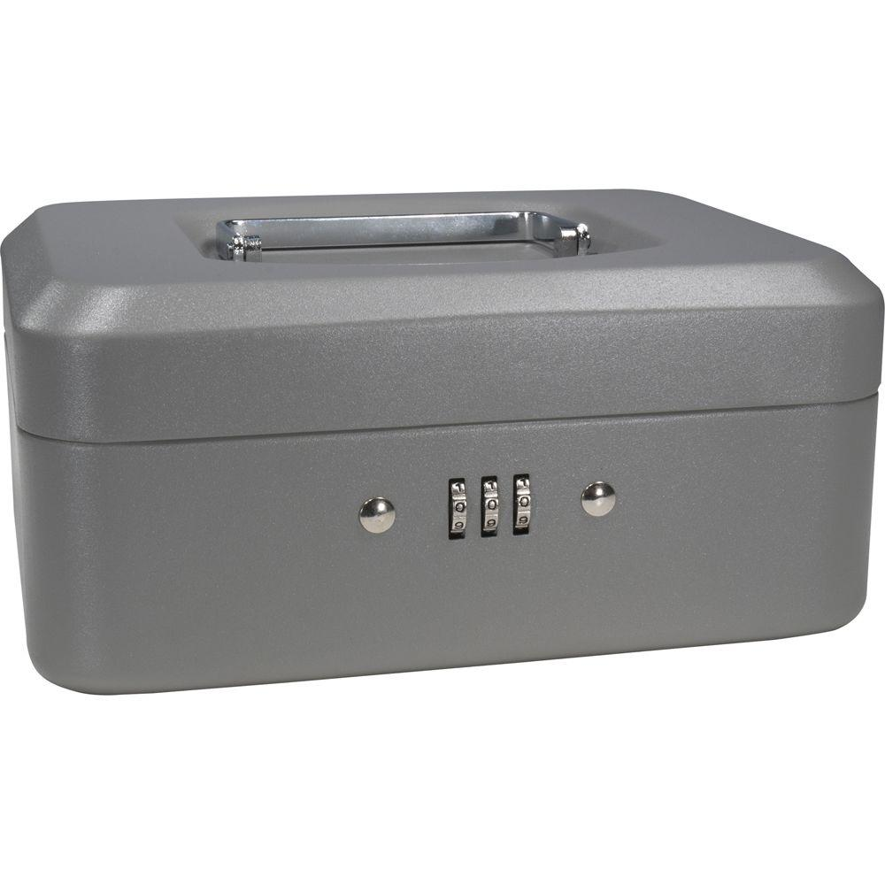 0.04 cu. ft. Steel Cash Box Safe with Combination Lock, Grey