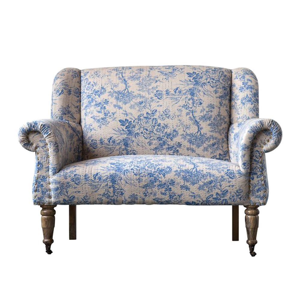 Admirable 3R Studios Bungalow Lane Blue Mango Wood Cotton Woven Sofa Caraccident5 Cool Chair Designs And Ideas Caraccident5Info