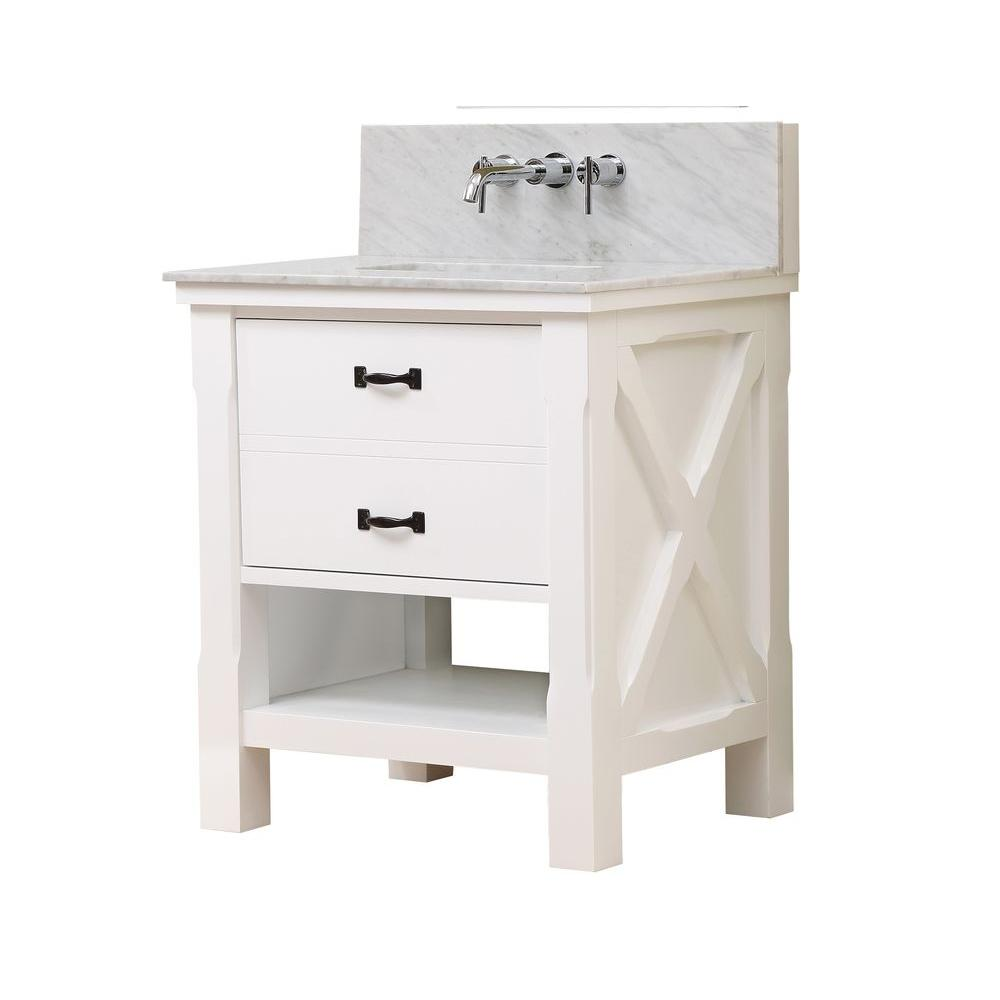 Direct vanity sink Xtraordinary Spa Premium 32 in. Vanity in White with Marble Vanity Top in Carrara White with White Basin
