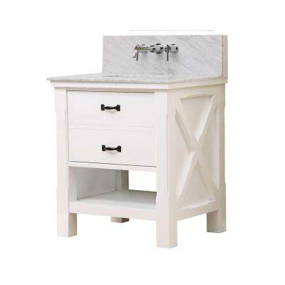 Xtraordinary Spa Premium 32 in. Vanity in White with Marble Vanity Top in Carrara White with White Basin