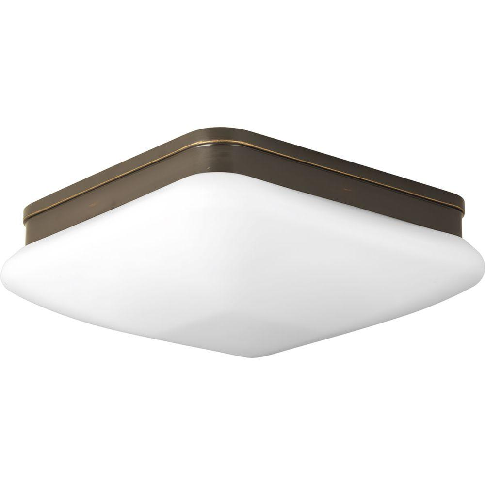 Appeal Collection 2-Light Antique Bronze Flushmount with Opal Etched Glass