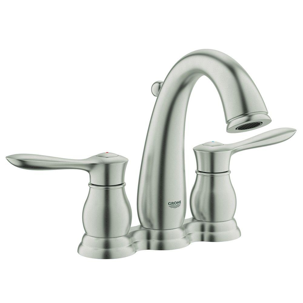 Bathroom Sink: Grohe Bathroom Sink Faucets Allure Brilliant Double Hole  Single Handle Wall Mount Vessel