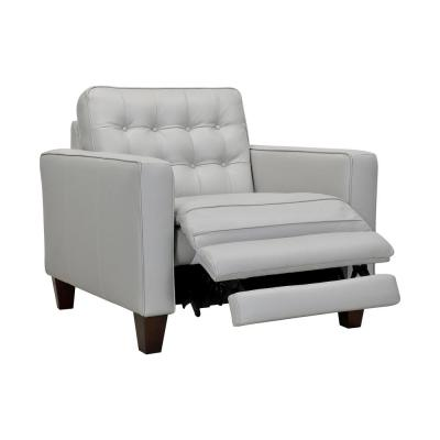 Wesley Dove Gray Leather Power Reclining Tuxedo Arm Accent Chair