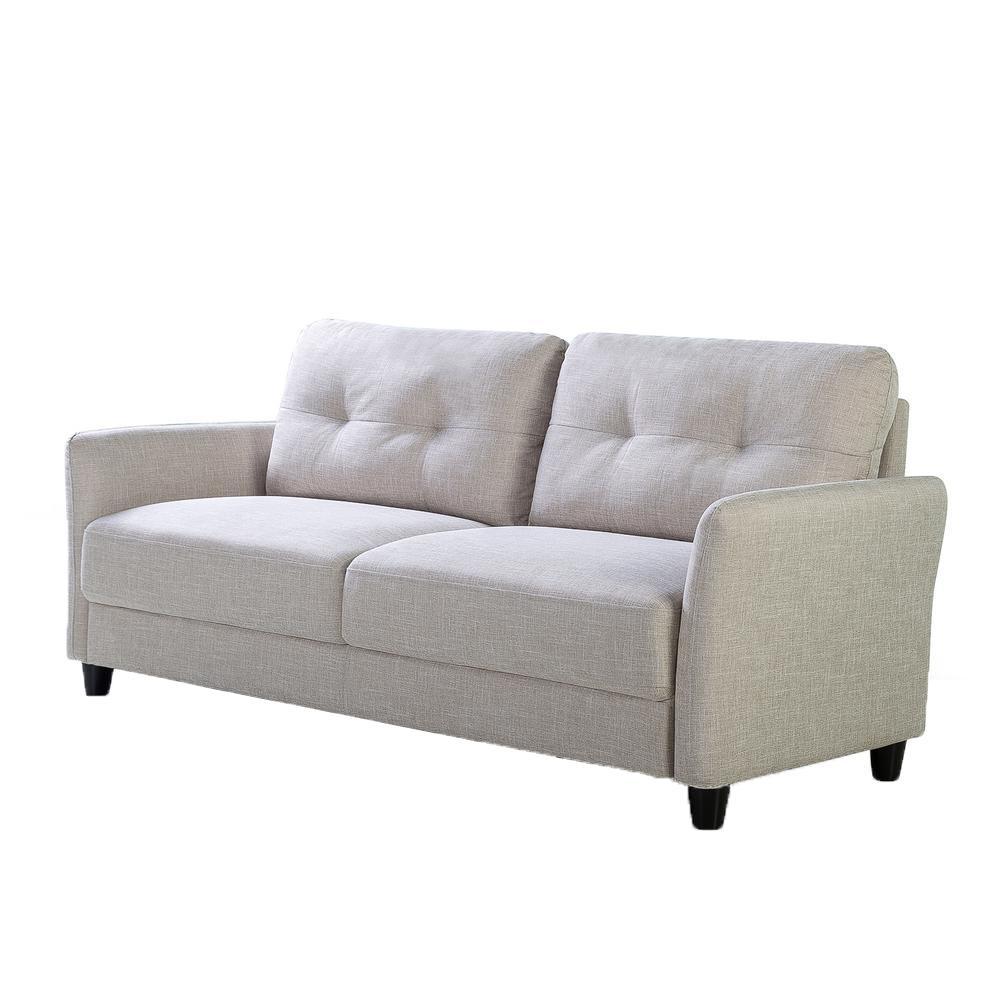 Ricardo 3-Seat Beige Upholstered Sofa