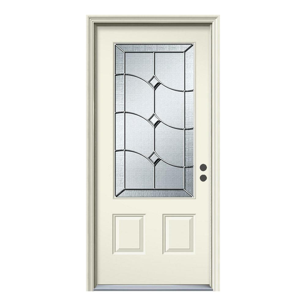 36 in. x 80 in. Deco Glass Primed White Left-Hand Inswing