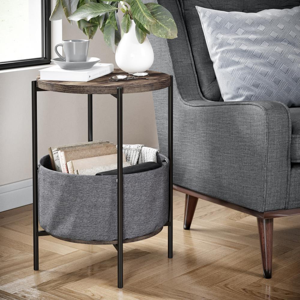 Oraa Nutmeg and Black Metal Frame Side Table with Storage Basket
