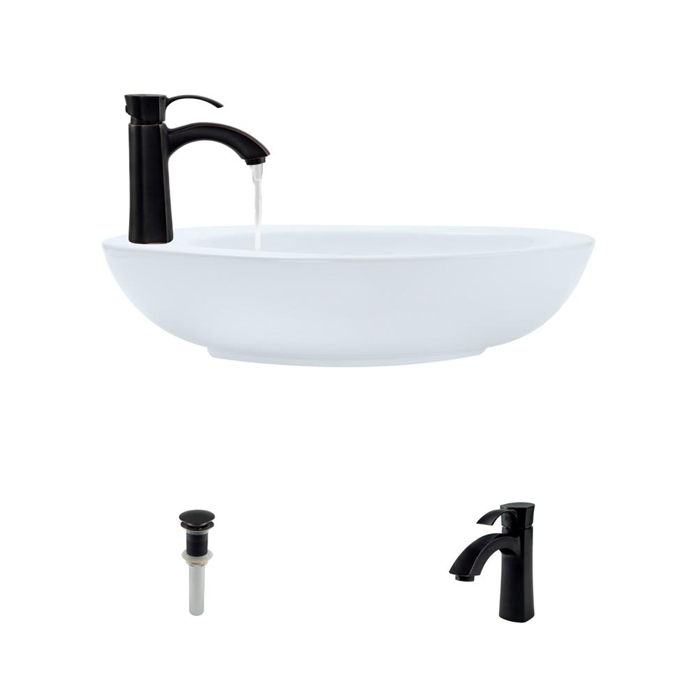 MR Direct Porcelain Vessel Sink in White with 725 Faucet ...