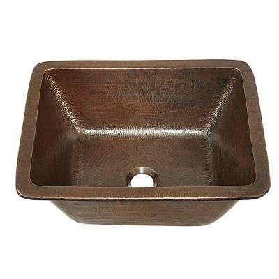 Hawking 17 in. Undermount or Drop-In Solid Copper Bathroom Sink in Aged Copper