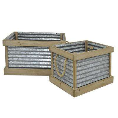 Galvanized Metal Planter/Wood