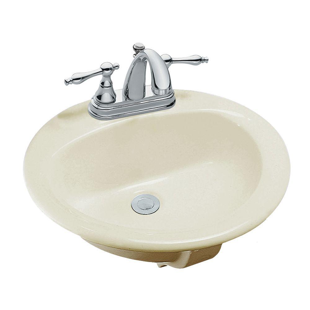 Drop-In Bathroom Sink in Bone