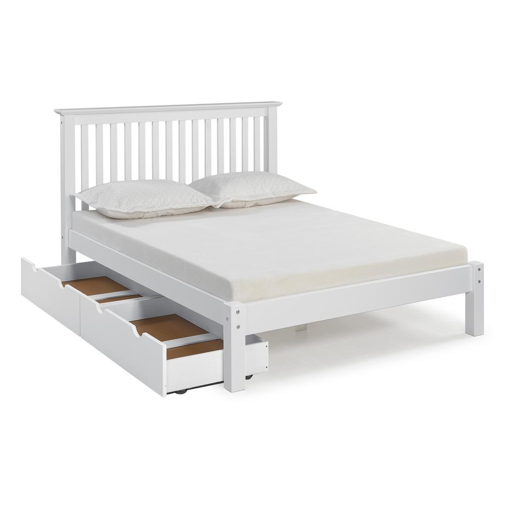 Barcelona White Full Bed with Storage Drawers