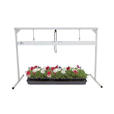 4 ft. 2-Lamp 108-Watt Steel White Powder Coated Light Stand with Fluorescent Grow Light Fixture