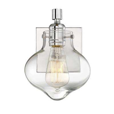 1-Light Polished Chrome Sconce with Clear Glass