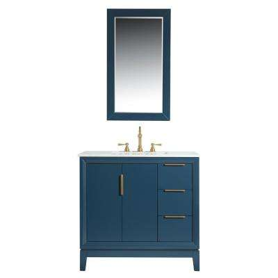 Elizabeth 36 in. Bath Vanity in Monarch Blue with Carrara White Marble Vanity Top with Ceramics White Basins