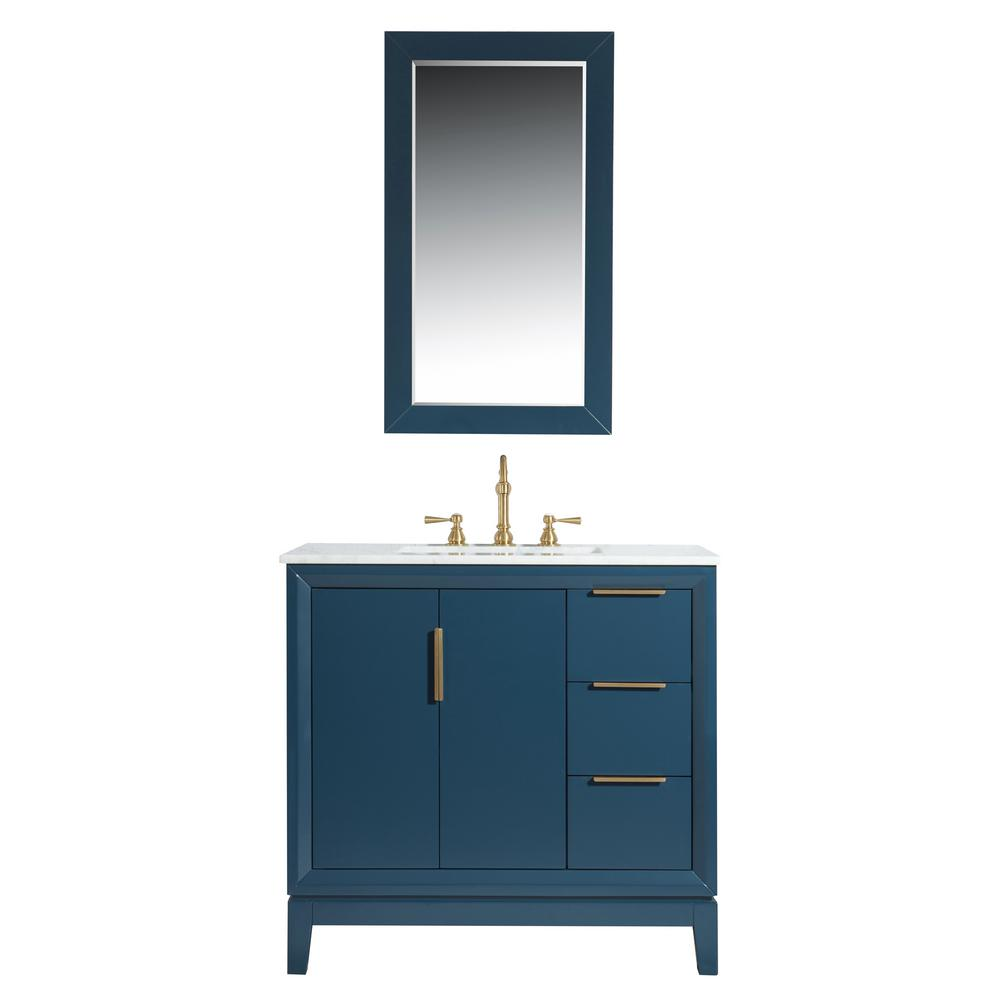 Water Creation Elizabeth 36 in. Bath Vanity in Monarch Blue with Carrara White Marble Vanity Top with Ceramics White Basins and Mirror