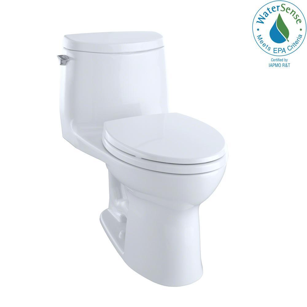 TOTO UltraMax II 1-Piece 1.0 GPF Single Flush Elongated Toilet with ...