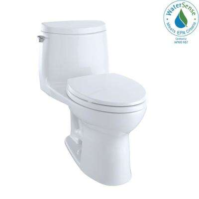 UltraMax II 1-Piece 1.0 GPF Single Flush Elongated Toilet with CeFiONtect in Cotton White, Seat Included