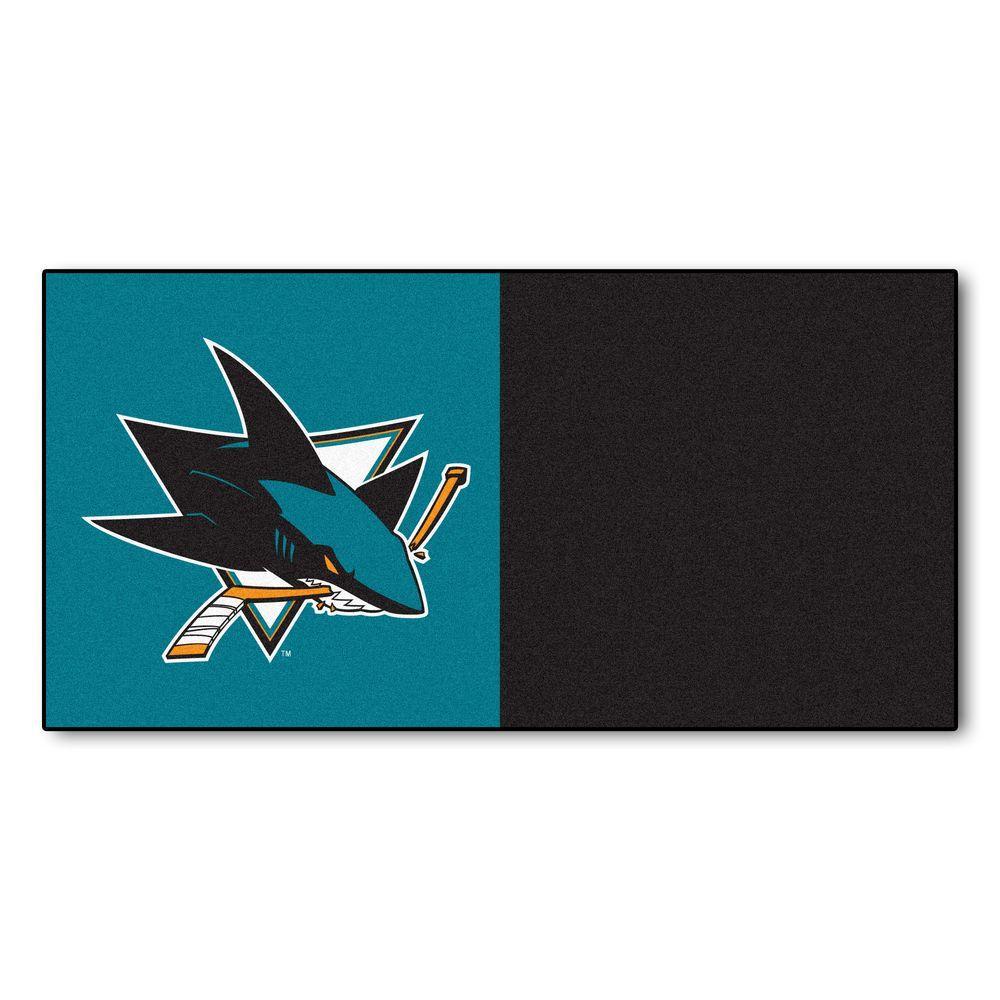 FANMATS NHL - San Jose Sharks Teal and Black Pattern 18 in. x 18 in. Carpet Tile (20 Tiles/Case)