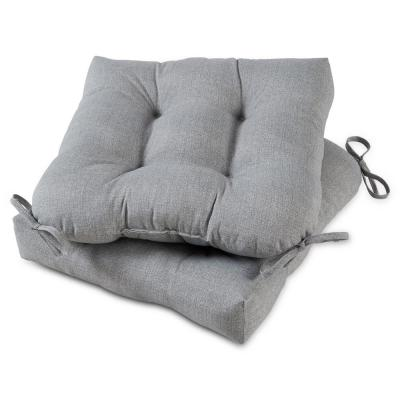 Heather Gray 20 in. x 20 in. Square Tufted Outdoor Seat Cushion (2-Pack)