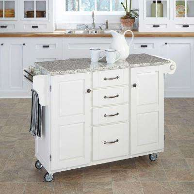 White Kitchen Cart With Salt and Pepper Granite Top