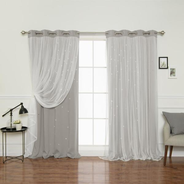 84 in. L Dove Tulle Overlay Star Cut Out Blackout Curtain Panel (2-Pack)