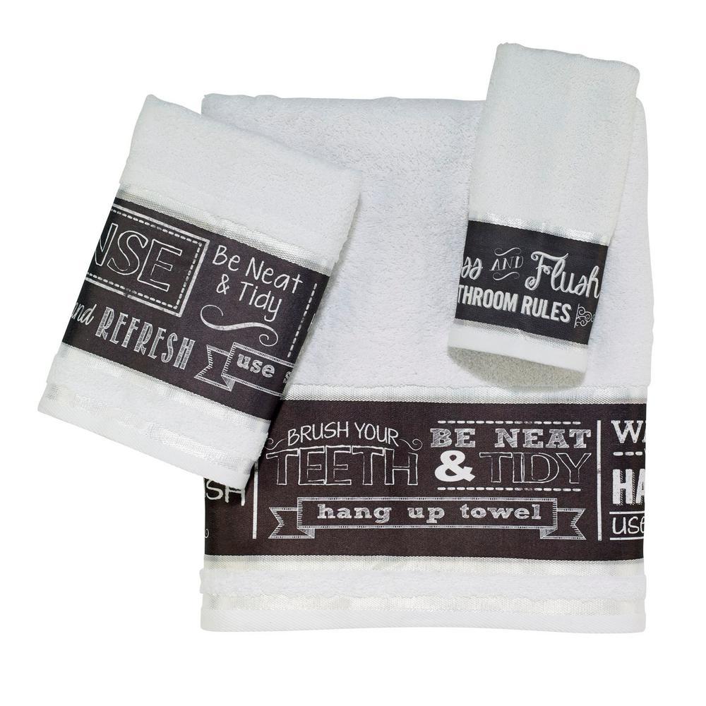 Avanti Linens Chalk It Up 3 Piece Bath Towel Set In White