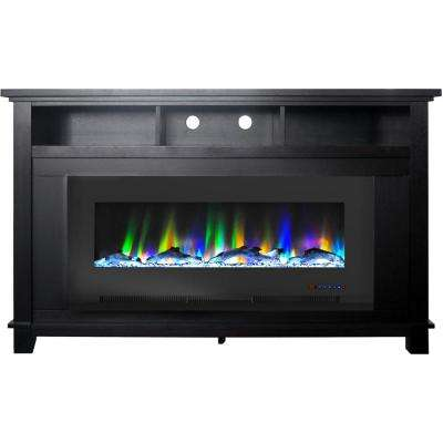 San Jose 58 in. Freestanding Electric Fireplace Entertainment Stand, Black with 50 in. Insert and Driftwood Log Display