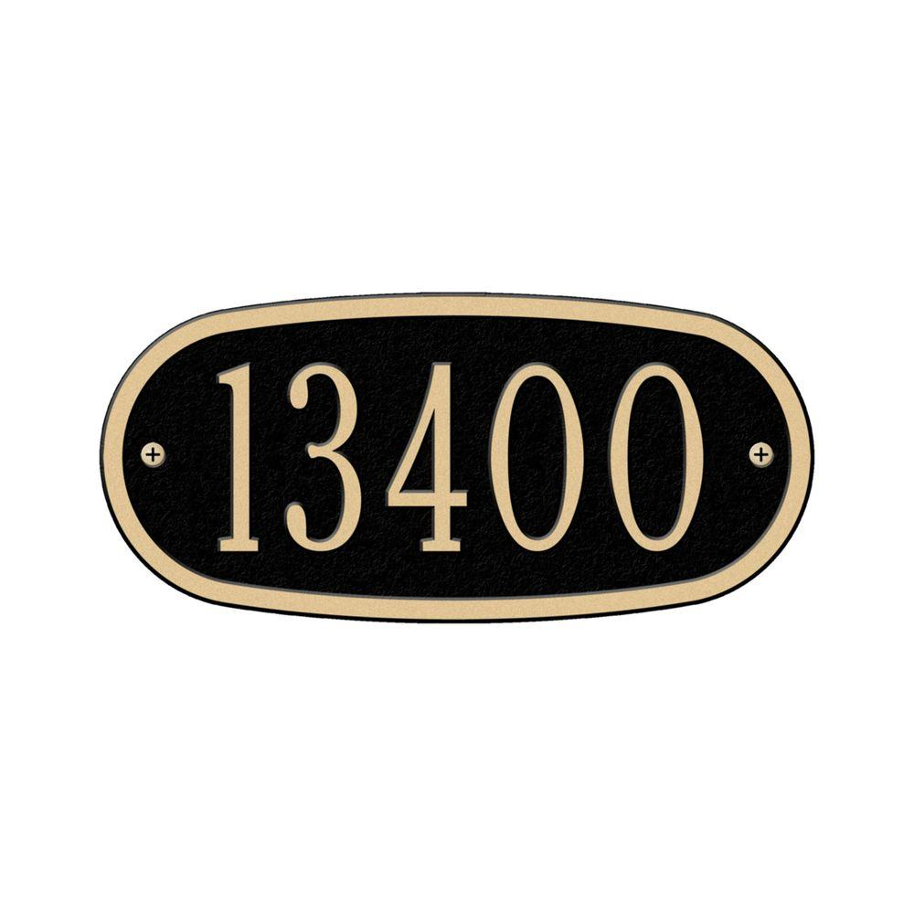 Whitehall Products Oval Black/Gold Petite Wall One Line Address Plaque