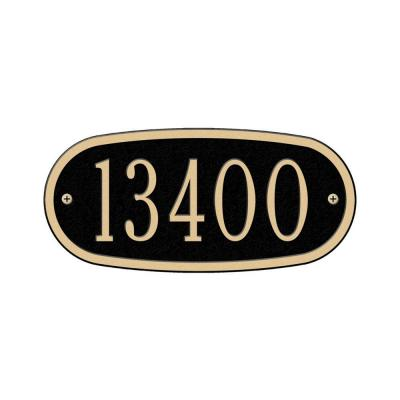Oval Black/Gold Petite Wall One Line Address Plaque
